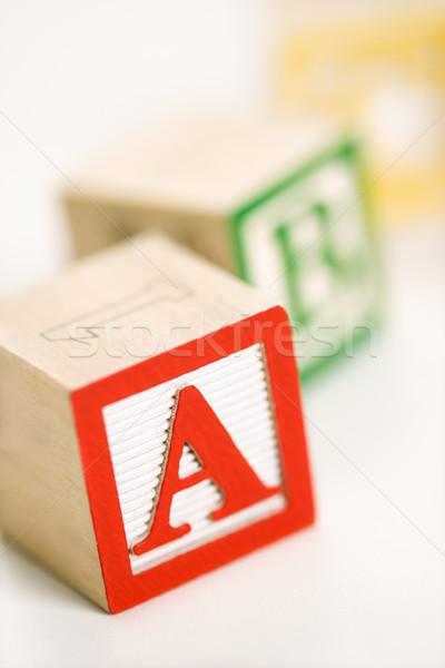 Stock fotó: építőkockák · szelektív · fókusz · ábécé · kockák · oktatás · levél