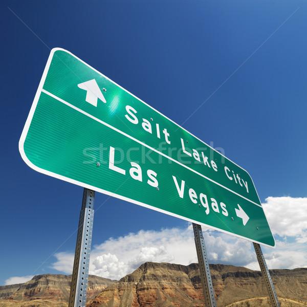 南西 道路標識 砂漠 ポインティング 塩 湖 ストックフォト © iofoto