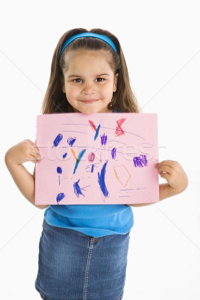 Mosolyog spanyol lány tart rajz mosoly Stock fotó © iofoto