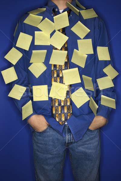 Jongen gedekt sticky notes portret kaukasisch teen Stockfoto © iofoto