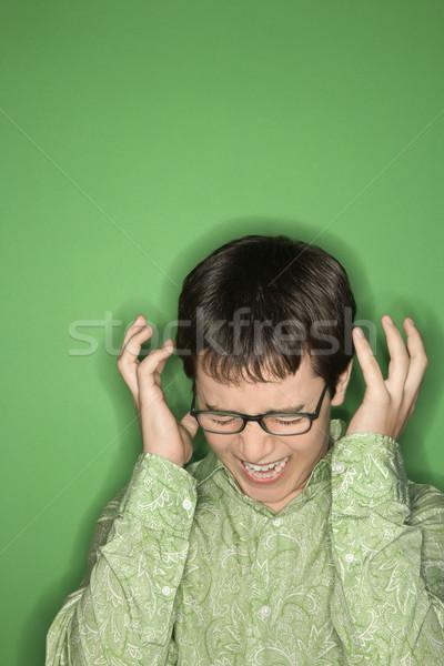 Zdjęcia stock: Teen · chłopca · krzyczeć · portret · ręce