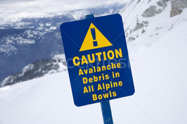 Snow ski caution sign. Stock photo © iofoto