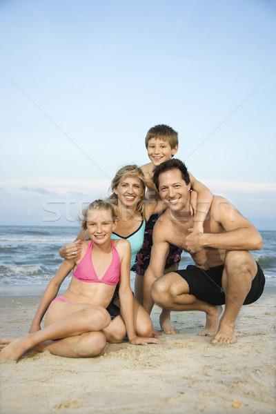 Stock fotó: Mosolyog · boldog · család · tengerpart · kaukázusi · család · négy