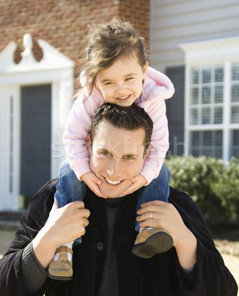 Padre figlia spalle ragazza Foto d'archivio © iofoto