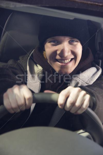 Adolescente carro caucasiano masculino adolescente atrás Foto stock © iofoto