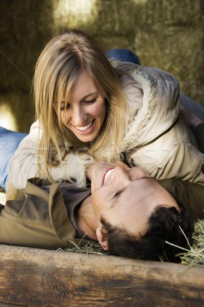 Couple in hay. Stock photo © iofoto