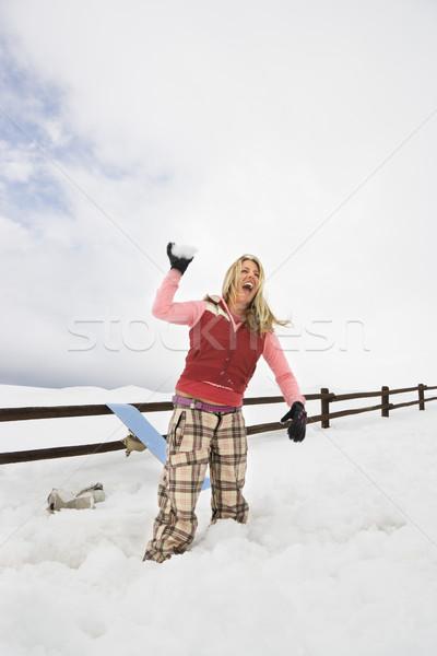 Kadın kartopu genç kadın kış elbise Stok fotoğraf © iofoto