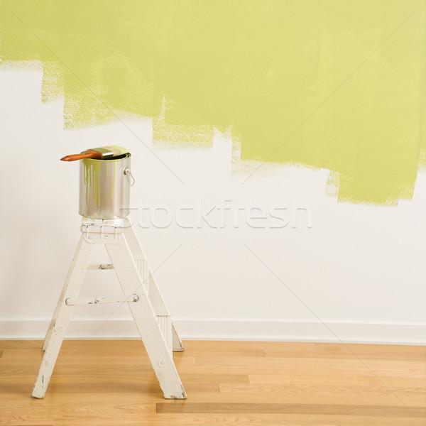 Festékes flakon létra ecset konzerv felső lépés Stock fotó © iofoto