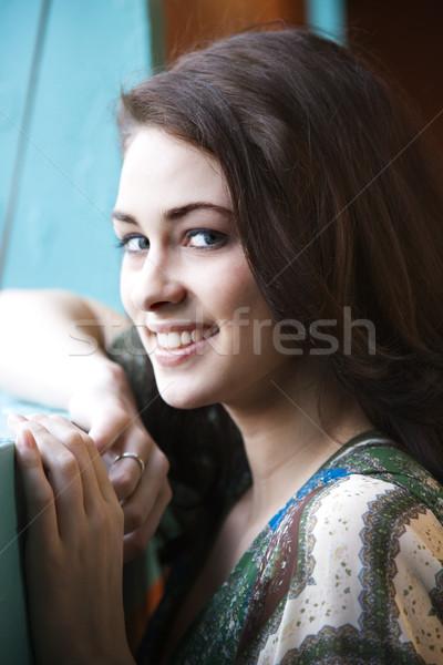 Portré fiatal nő közelkép pihen kar ablakpárkány Stock fotó © iofoto