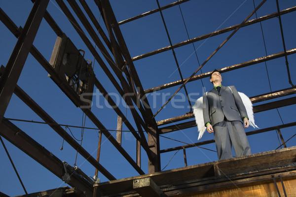 Сток-фото: бизнесмен · молодые · серьезный · заброшенный