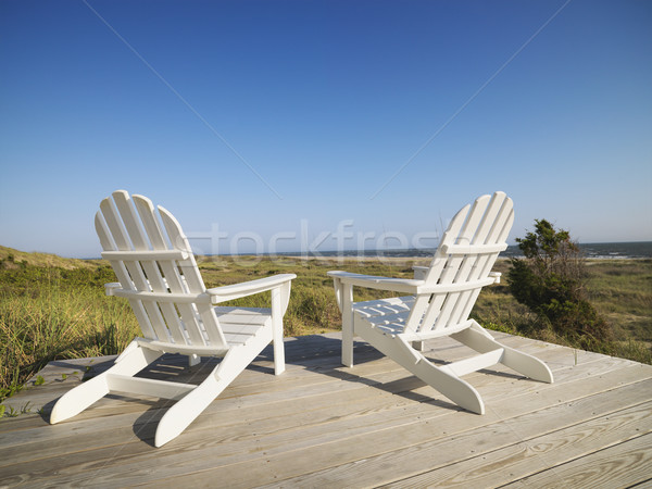 Foto stock: Convés · cadeiras · praia · dois · careca