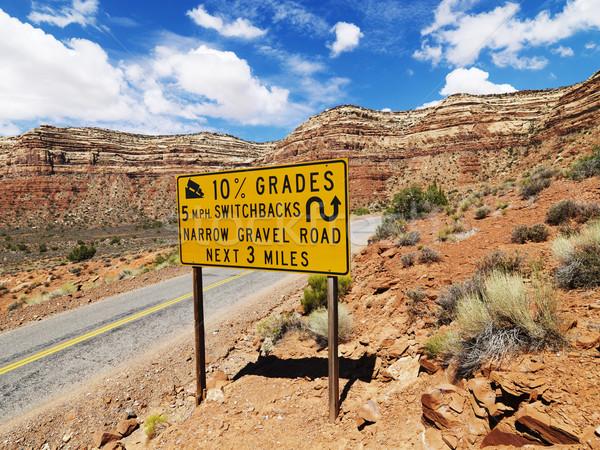 крутой дороги дорожный знак предупреждение Юта Сток-фото © iofoto