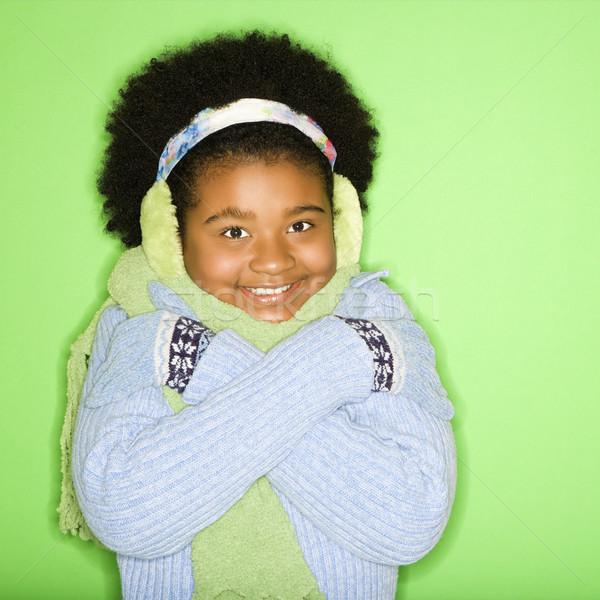 Winter meisje afro-amerikaanse kleding glimlachend Stockfoto © iofoto