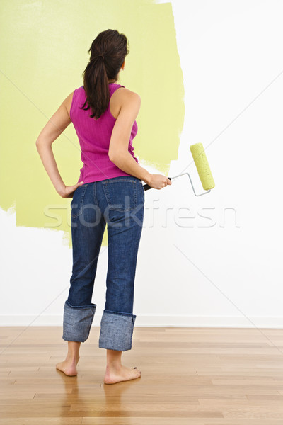 Stock photo: Woman painting home.