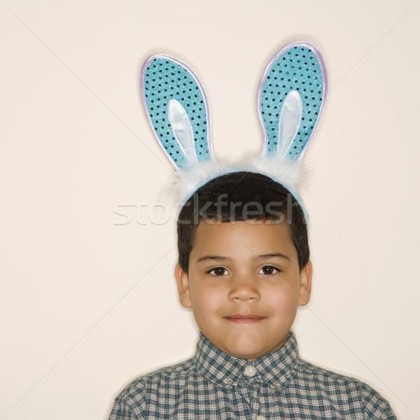 Garçon lapin oreilles portrait hispanique Photo stock © iofoto