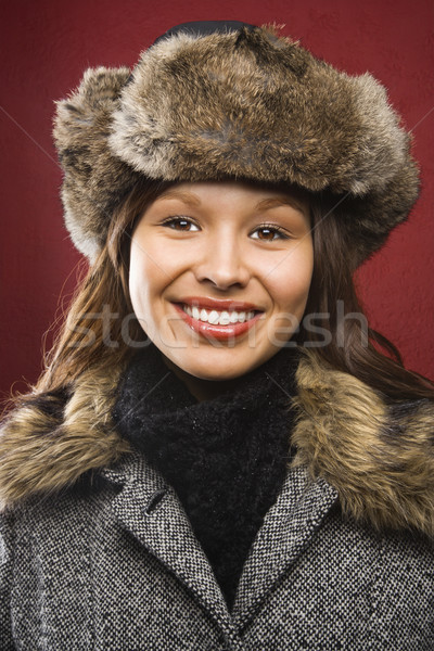 Woman in hat and coat. Stock photo © iofoto