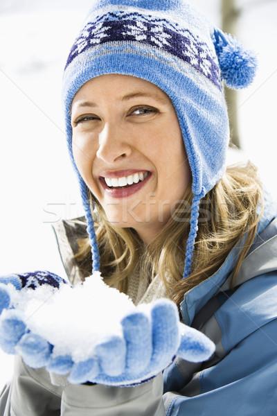 女性 雪玉 肖像 魅力的な 笑みを浮かべて 成人 ストックフォト © iofoto