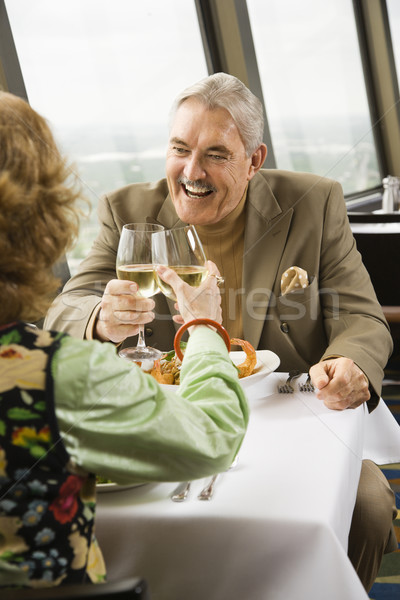 érett pár pirít ebéd étterem ablak Stock fotó © iofoto