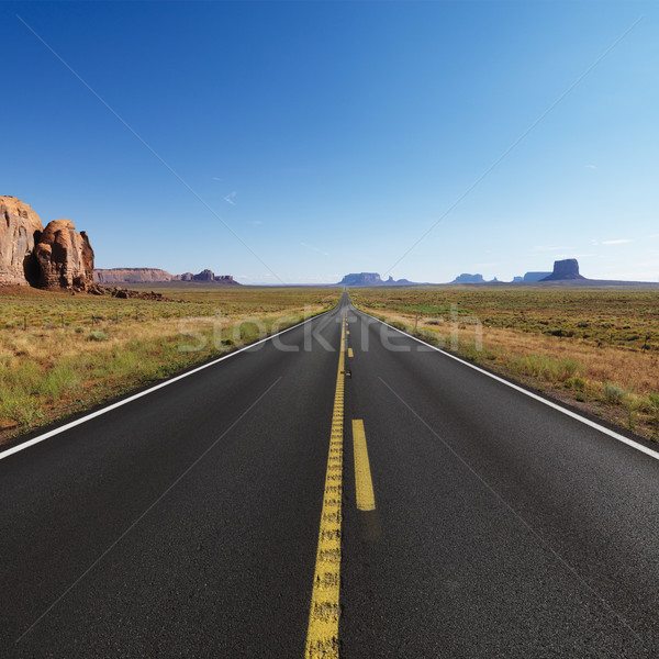 Abierto desierto carretera escénico paisaje distante Foto stock © iofoto