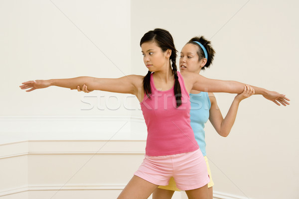 Fitness instructor and student Stock photo © iofoto