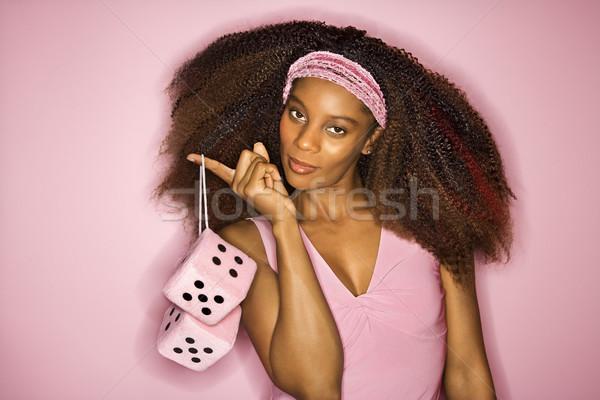 女性 サイコロ 肖像 笑みを浮かべて 小さな ストックフォト © iofoto