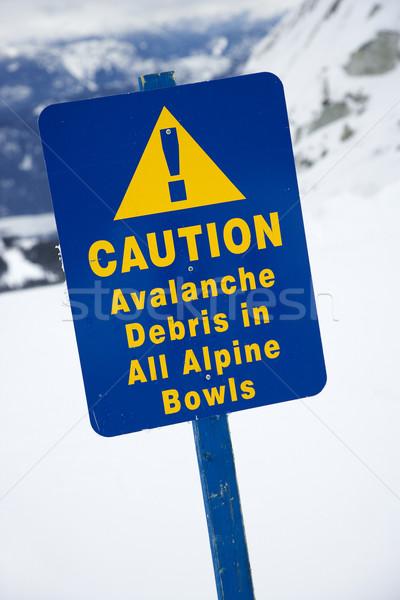 Stock photo: Snow ski caution sign.