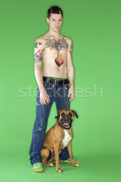 Man with Boxer dog. Stock photo © iofoto