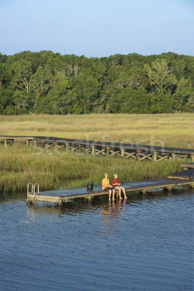 Ragazzi pesca dock due ragazzi adolescenti Foto d'archivio © iofoto
