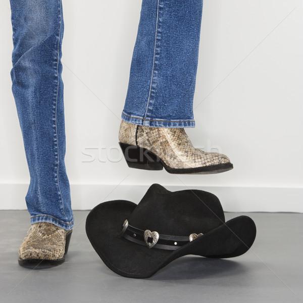 Botas chapéu de cowboy mulher botas de vaqueiros Foto stock © iofoto