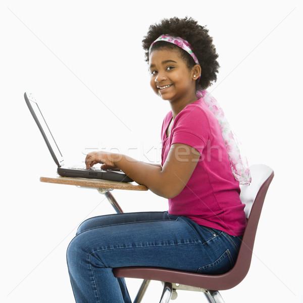 Photo stock: écolière · portable · fille · séance · école