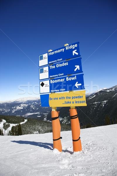 Ski resort trail direction signs. Stock photo © iofoto