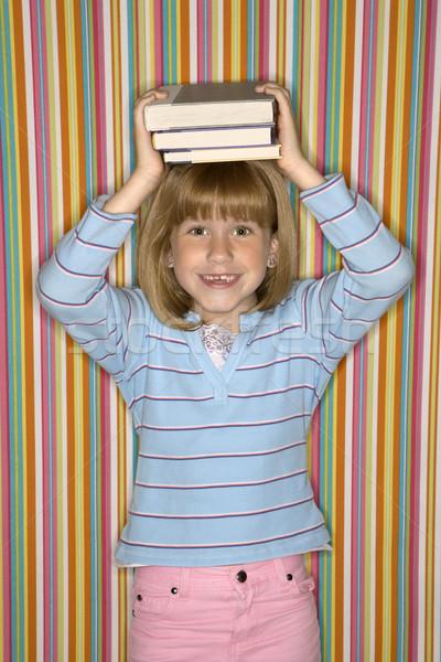 Stock fotó: Lány · egyensúlyoz · könyvek · fej · kaukázusi · női
