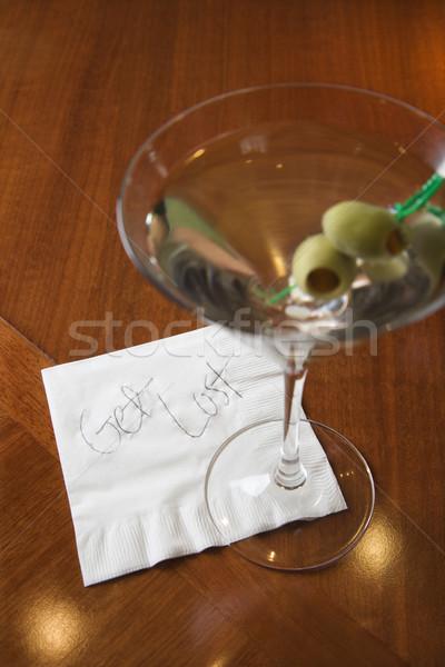 Foto d'archivio: Rifiuto · nota · bar · Martini · tovagliolo · lettura