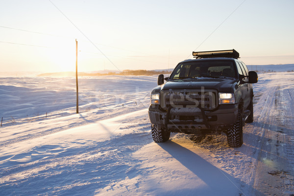 Truck on icy road. Stock photo © iofoto