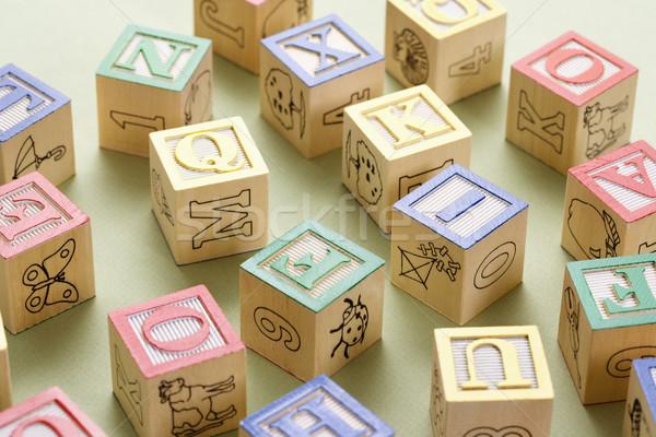 Játék tömbházak ábécé épület csoport levél Stock fotó © iofoto