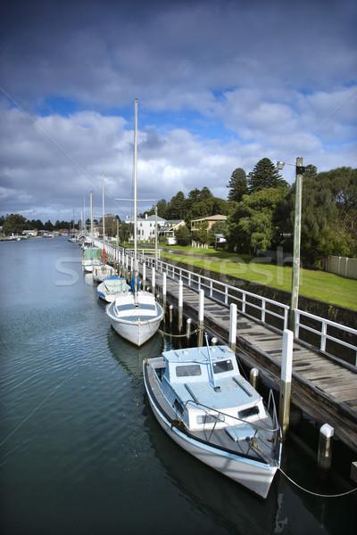 Bateaux quai Australie eau bateau voilier Photo stock © iofoto