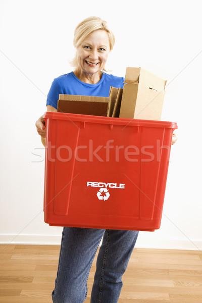 Zdjęcia stock: Kobieta · recyklingu · portret · uśmiechnięty