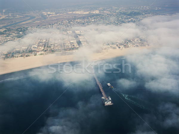 Stockfoto: Californië · strand · luchtfoto · wolken · vissen · pier