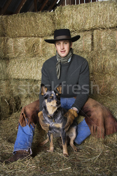Attractive Young Man Wearing Cowboy Hat Stock photo © iofoto
