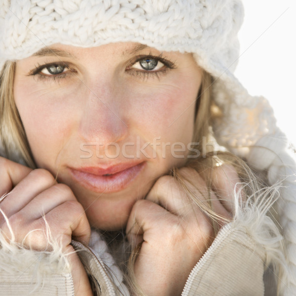 Pretty woman in hat. Stock photo © iofoto
