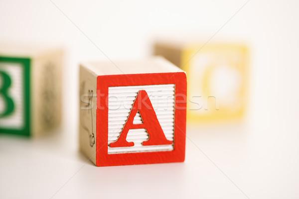 Сток-фото: игрушку · алфавит · блоки · избирательный · подход · письме · игрушками
