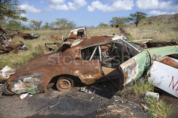 Rusty car in junkyard. Stock photo © iofoto