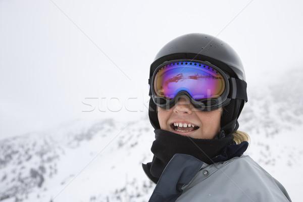 Boy skier on ski trails. Stock photo © iofoto