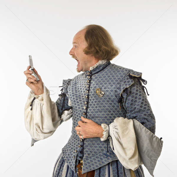 Shakespeare screaming at cell phone. Stock photo © iofoto