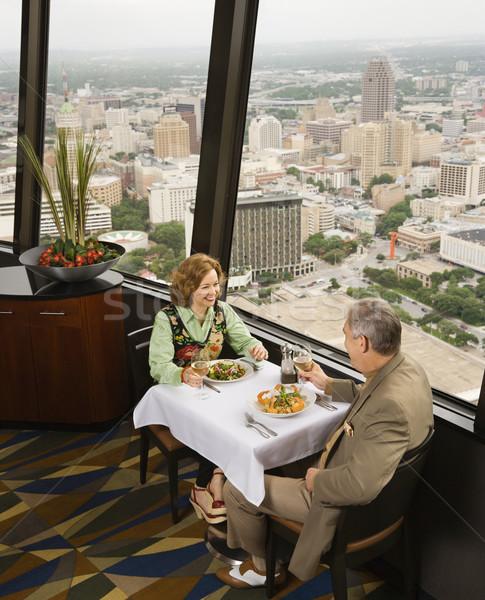 зрелый пару столовой ресторан окна Сток-фото © iofoto