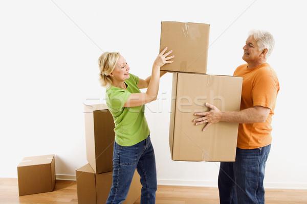 Homme femme carton Photo stock © iofoto