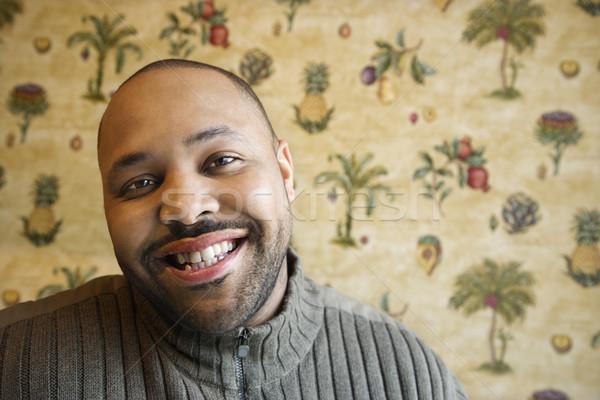 Stock fotó: Fiatalember · mosolyog · kamera · vonzó · afroamerikai · férfi · fej