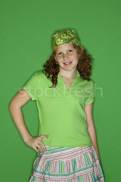 Stock fotó: Portré · mosolyog · lány · kaukázusi · női · gyermek
