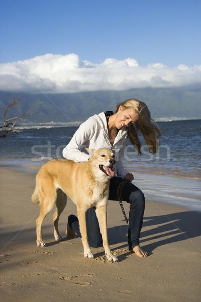 женщину собака кавказский коричневая собака привязь Гавайи Сток-фото © iofoto