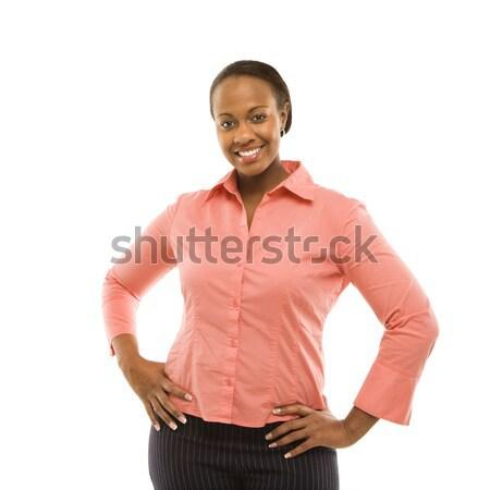 Zdjęcia stock: Portret · portret · kobiety · kobieta · stałego · uśmiechnięty